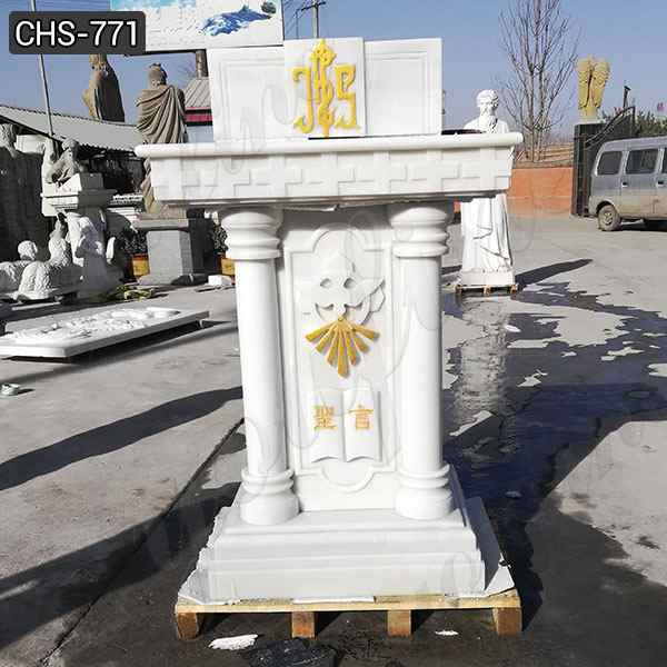 New Design Life Size White Marble Pulpit for Church Supplier CHS-771