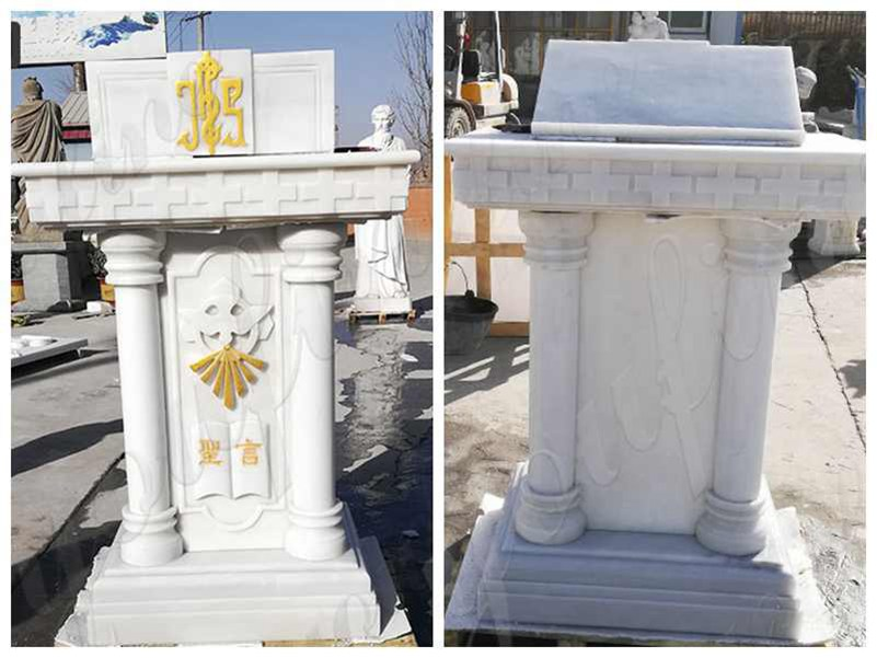 detail of White Marble Church Pulpit Table