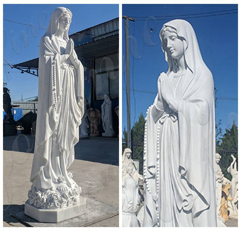 Donation Life Size Our Lady of Lourdes Marble Statue detail