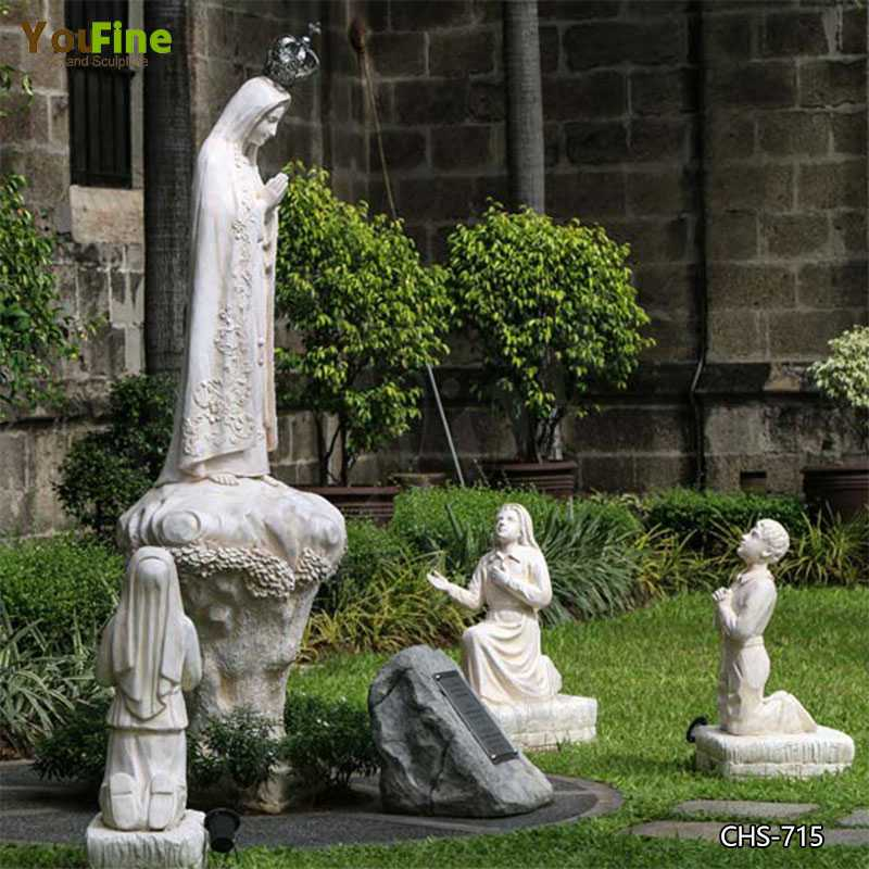 High Quality Our Lady of Fatima with Children Marble Statue for Sale CHS-715