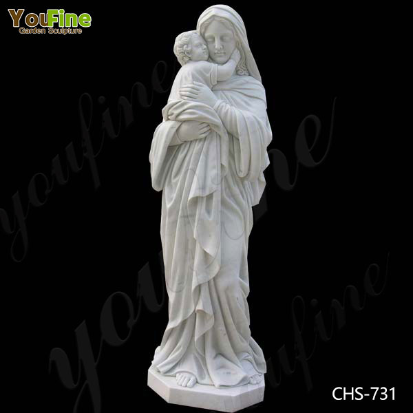 Outdoor Catholic Madonna and Child Marble Statue Factory Supply