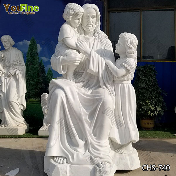 Classic Church Marble Jesus with Children Statue for Sale CHS-740