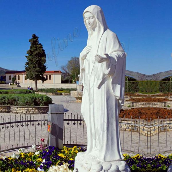 white marble our lady of medjugorje statue for sale