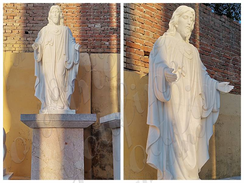 Life Size Natural White Jesus Marble Statue for Church