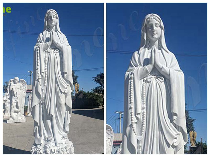 Natural Marble Our Lady of Lourdes Statue