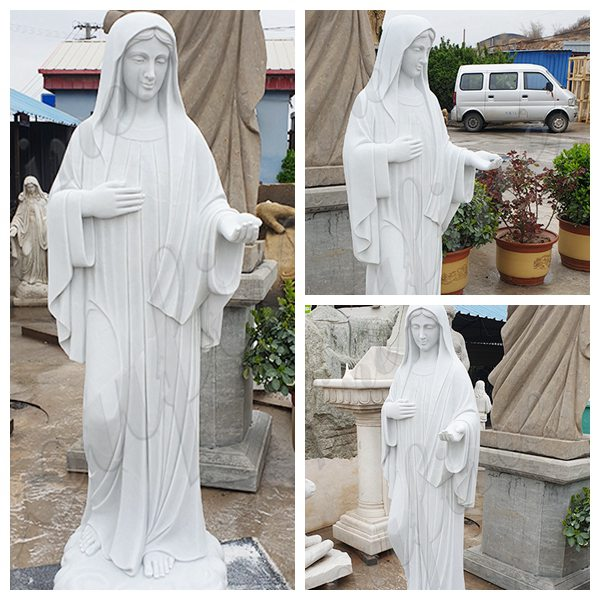 Catholic Hand Carved Outdoor Marble Virgin Mary Statue