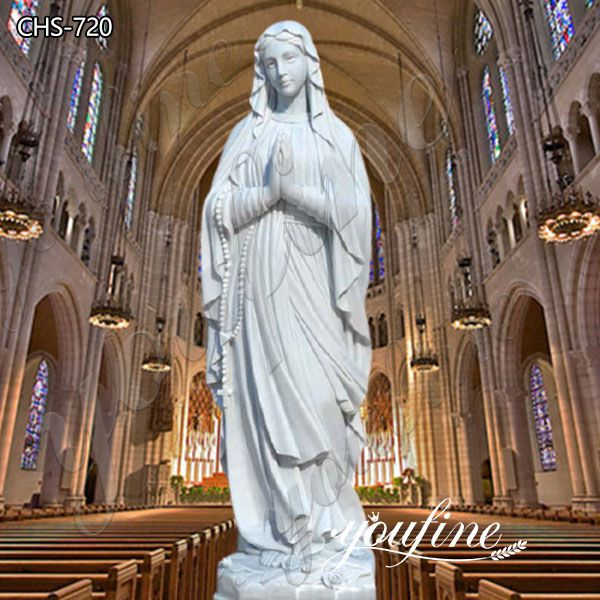 Hand Carved Catholic Our Lady of Lourdes Marble Statue