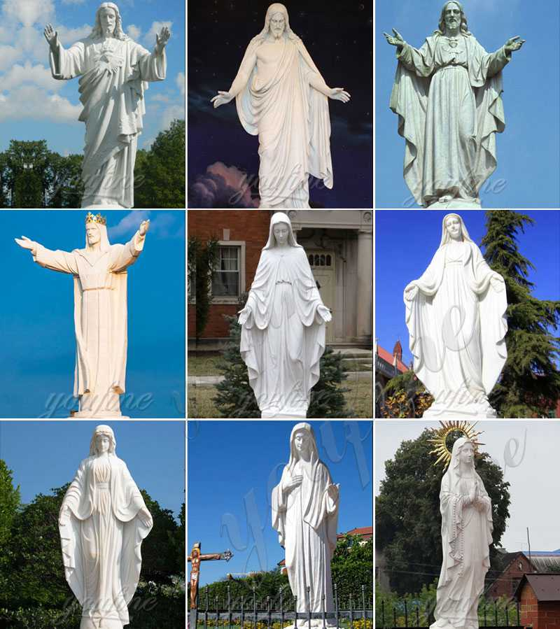 Hand Carved Outdoor Marble Virgin Mary Statue