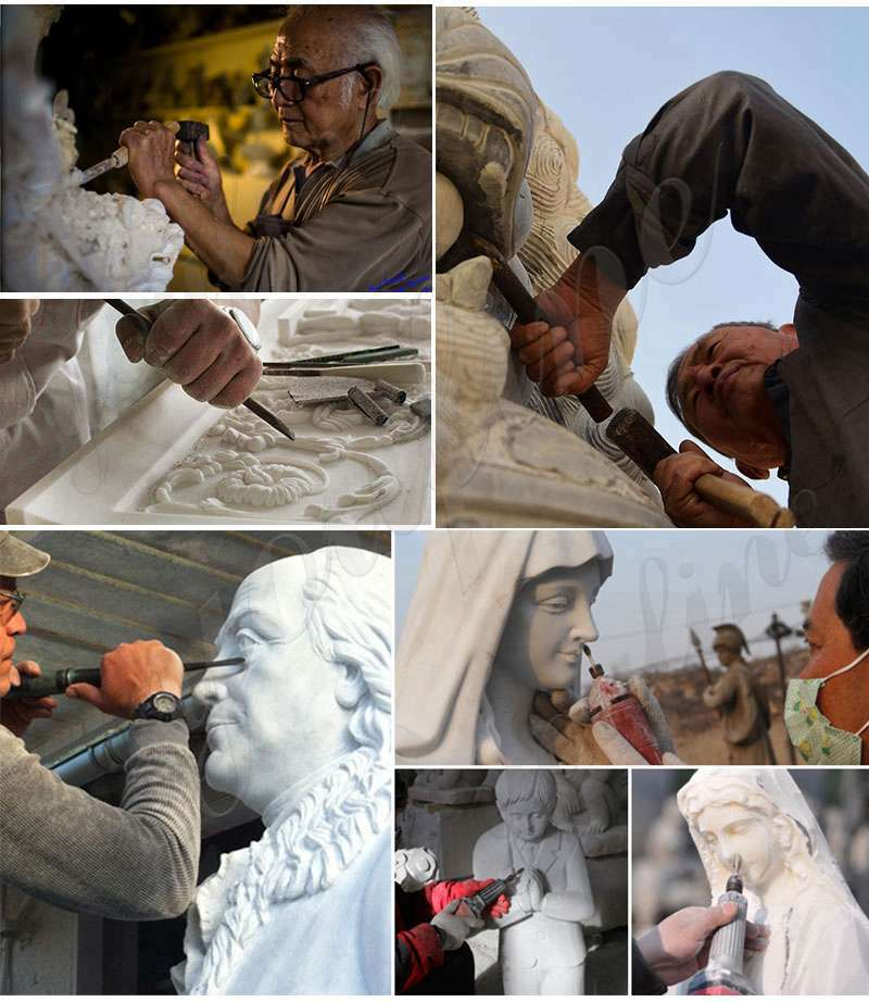 process of Outdoor Marble Virgin Mary Statue
