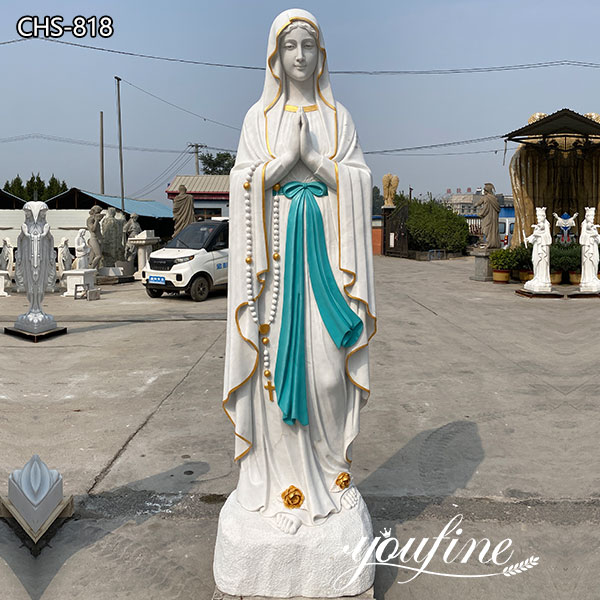 Painted Catholic Church Marble Our Lady of Lourdes Statue for Sale