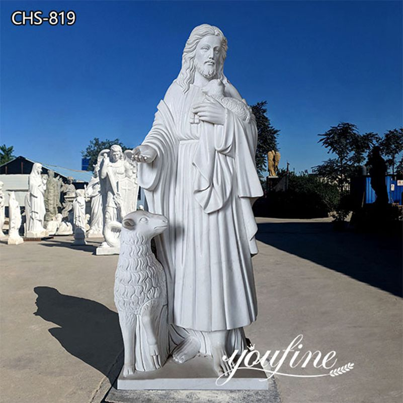 Life Size Jesus and Lamb Marble Statue for Church Garden Decor for Sale CHS-819